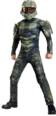 Morris Costumes Boys Halo Master Chief Muscle Jumpsuit Green 10-12. DG89975G](Green Muscle Suit)