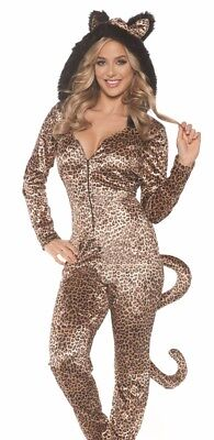Sexy Leopard Jumpsuit Jumper Furry Spot Cat Costume Adult Womens - XL 18-20 ()