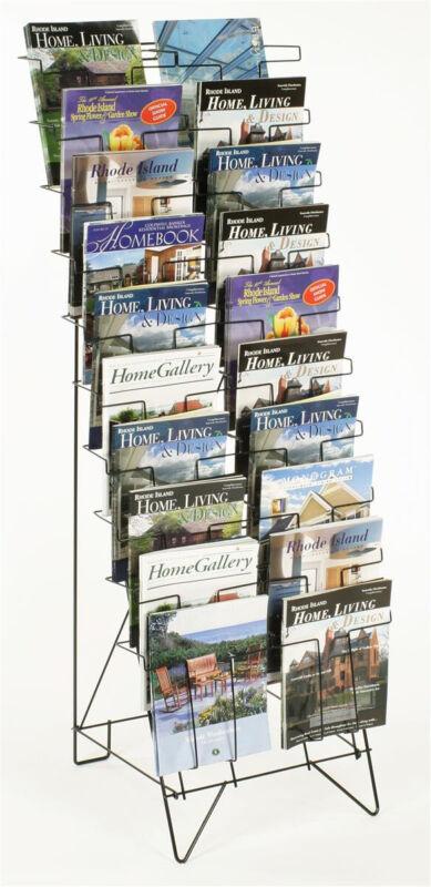 20 Pocket Freestanding Magazine Rack Home Office Comic Display Organizer Stand