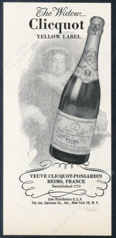 1956 Veuve Clicquot Champagne bottle photo vintage print ad