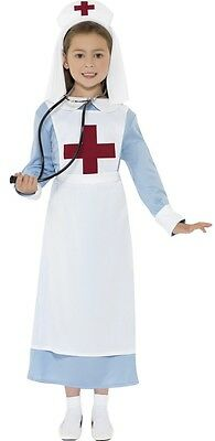 Girls WW1 WW2 Nurse Matron Florence Nightingale Fancy Dress Costume Outfit 4-1