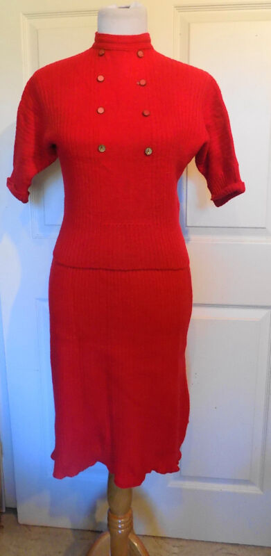 Vintage Red Wool Knit Two Piece Set Skirt Sweater Top by Jane Irwill B36
