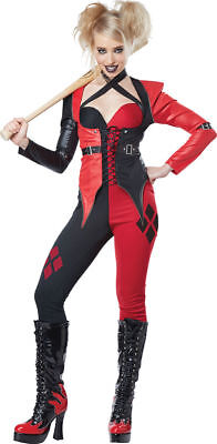 Psycho Jester Chick Costume Womens Harley Quinn Style Black & Red Jumpsuit XS-LG - Harley Quinn Jumpsuit