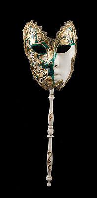 Mask Venetian to Stick Moon Farfella Carnival Bal Party Venice Green 1548 VG23
