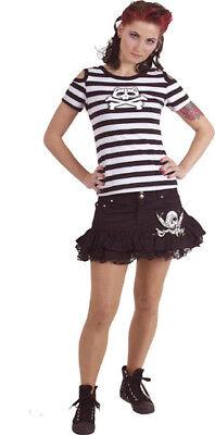 Gothic Punk Top Shirt Queen of Darkness Shoulder Holes Catbone Katze (Ness Kostüm Shirt)