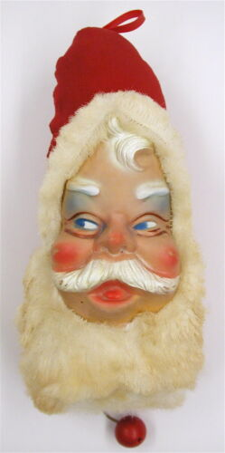 Vintage Rubber Face Musical Santa Clause Head Pull String Plays JINGLE BELLS