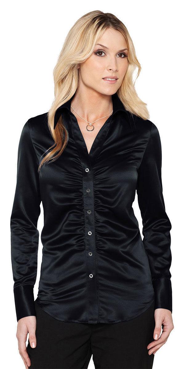 2d43cd31 Tri-Mountain Women's Matte Satin Long Sleeve Feminine Woven Fashion Shirt.  LB734