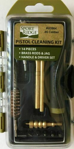 Sport Ridge 14pc .45 Cal Pistol Field Cleaning Kit Brush/Patches/Rod/Tools