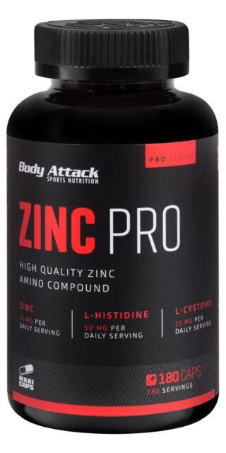 (10,91 Euro/100g) Body Attack Zinc Professional 180 Kapseln Zink Pro