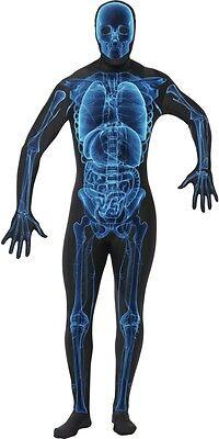 Herren Röntgenbild Skelett Halloween 2. Skin Overall Kostüm Kleid Outfit S-XL