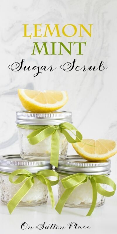 Lemon Mint Sugar Scrub | Easy to make sugar scrub that's perfect for shower favors, hostess gifts or for yourself!