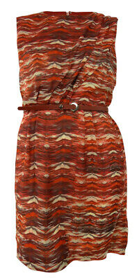 Printed Pleated Drape Belted Sheath Dress (18, Red Orange) Printed Belted Sheath Dress