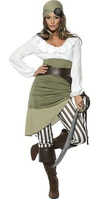 Ladies Khaki Green Pirate Book Day Film TV Halloween Fancy Dress Costume UK 8-18 - Halloween Uk Tv