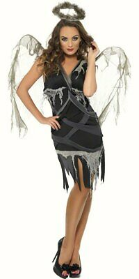 Dark Fallen Angel Womens Halloween fancy dress costume Black Female Outfit WINGS