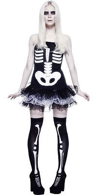 Womens Sexy Skeleton Costume Fancy Dress Day of the Dead Black/White Adult NEW - Womens Skeleton Costume Dress