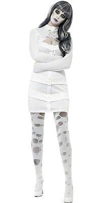 Womens Straight Jacket Costume Dress Straitjacket White Fancy Dress Adult NEW