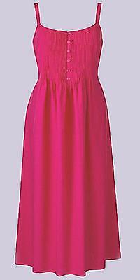Pintuck Kleid (Neu Erdbeer-Rosa Pintuck & Knopf Detail Baumwolle & Leinenkleid Größe 12 & 14)
