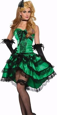 Saloon Girl Costume Dress Sexy Womens Green Western Westworld Can Can Burlesque](Saloon Costumes For Womens)