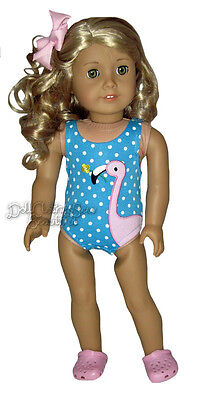 Apryl DOLL CLOTHES fits American Girl Pink Flamingo Bathing Suit + Kroc Shoes on Rummage