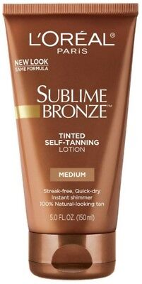 L'Oreal SUBLIME BRONZE Tinted Self-Tanning Lotion Medium Natural Tan 5 (Bronze Tinted Tanning Lotion)