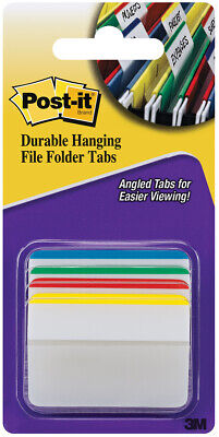 Post-it Durable Hanging File Tabs 2 X 1 12 Striped Assorted Colors 24pack