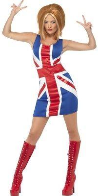 Damen 90s Sexy Union Jack Ginger Spice Mädchen Kostüm
