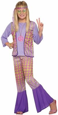Generation Hippie Love Child Girls Halloween Costume 1970s Flower Power SM-MD-LG - Power Girl Halloween Costume