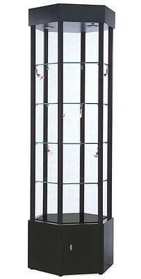 Hexagonal Glass Tower Showcase Case Floor Display Halogem Lights Black 72h New
