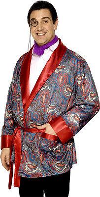 Herren Edwardianisch Smoking-Jacke Hugh Hefner Stag Kostüm Kleid Outfit
