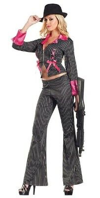 Mafia Costumes For Women (Be Wicked Costume Collection Sexy Women's 2 Piece Pimpin' Pretty)