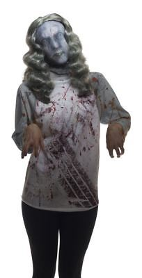 Female Zombie Mask with Wig adult womens Halloween costume accessory](Female Horror Costumes)