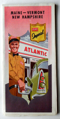 1940s ATLANTIC GASOLINE MOTOR OIL ADVERTISING AUTO ROAD MAPS OHIO MASS CONN RI