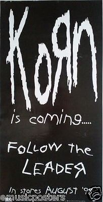 """KORN """"FOLLOW THE LEADER-IS COMING...IN STORES AUG. 18"""" SMALL U.S. PROMO POSTER"""