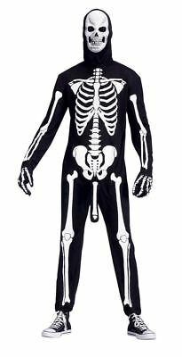 Adult SKELEBONER Rude Skeleton Fancy Dress Costume Halloween Outfit + Mask - Skeleboner Halloween