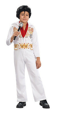 Kids Elvis Costume White Jumpsuit Medium - Kids Elvis