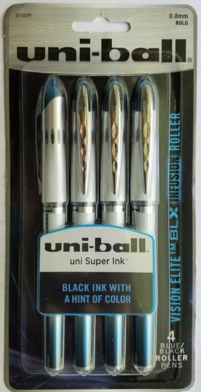 8 UNIBALL VISION ELITE 0.8mm BLUE/BLACK ROLLERBALL CAP PENS*