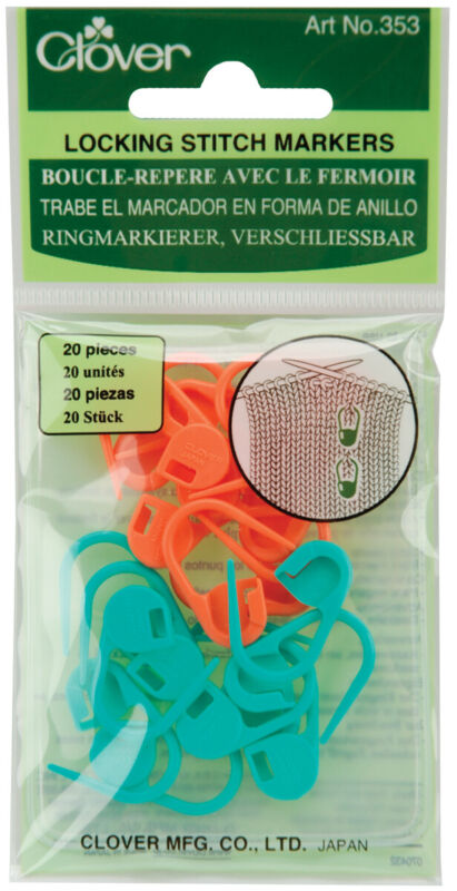 Clover-Locking Stitch Markers-20/Pkg