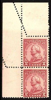 Scott 689 Variety Mint Vertical Pair (Von Steuben) H/NH Foldover EFO E$100