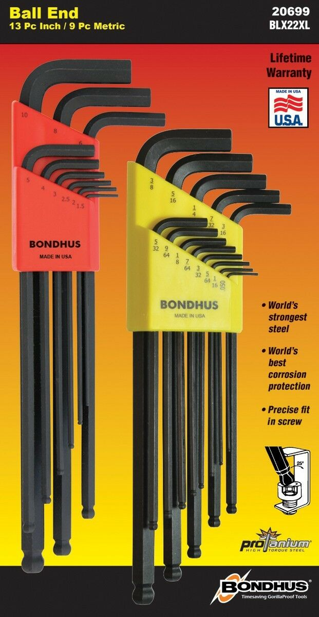 Bondhus 13 pc Ball End SAE Standard Inch Hex L Wrench Set .050-3//8in USA 10937