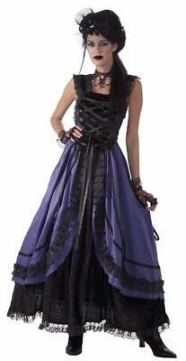 Western Saloon Halloween Costumes (Saloon Girl Costume Dress Sexy Womens Purple Western Can Can Burlesque)