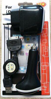 Cargador de Viaje Coche Cable Datos, Adaptador 3 IN 1 Negro Para...