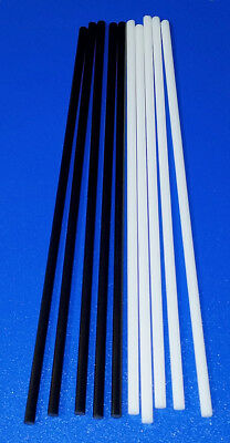 10 Pcs 14 Diameter 12 Inch Long Black White Acrylic Plastic Rods Clear .250