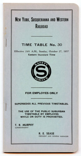 EMPLOYEE TIMETABLE NEW YORK, SUSQUEHANNA & WESTERN (NYSW) TIME TABLE 30 10/27/57