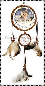 ~WOLF BEADED DREAM CATCHER~Natural Feathers~Wall Hanging Ornament~Indian~60cm