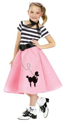 50s Costume For Girls (Poodle Skirt Costume Childs Girls 50s 50's Car Hop Soda S 4-6, M 8-10, L)