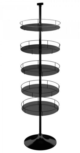 Floor Display Stand - 5 Round Metal Trays Round Base (Black)