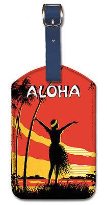 Leatherette Travel LUGGAGE TAG Baggage Label ALOHA HAWAII Hu
