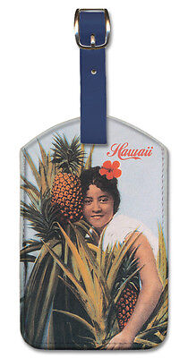 Leatherette Travel Luggage Tag Baggage Label - Hawaii Pineap