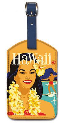 Leatherette VINTAGE Travel LUGGAGE TAG Baggage Label HAWAII