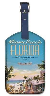 - Leatherette Travel Luggage Tag Baggage Label - Miami Beach by Kerne Erickson